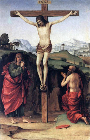 Francesco Francia Crucifixion with Sts John and Jerome - Hand Painted Oil Painting