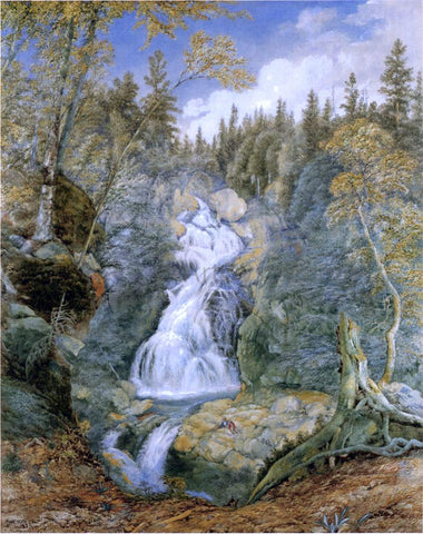 John William Hill Crystal Cascade, White Mountains - Hand Painted Oil Painting