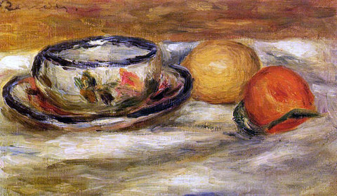 Pierre Auguste Renoir Cup, Lemon and Tomato - Hand Painted Oil Painting