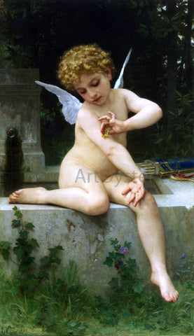 William Adolphe Bouguereau Cupid with Butterfly - Hand Painted Oil Painting