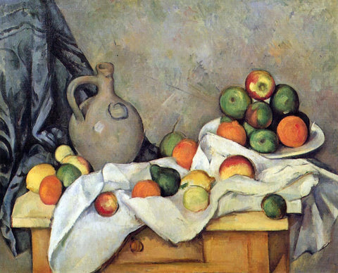 Paul Cezanne A Curtain, Jug and Fruit - Hand Painted Oil Painting