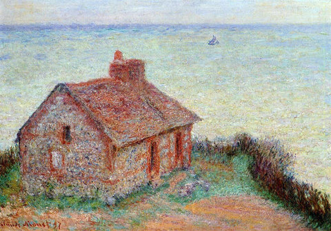 Claude Oscar Monet Customs House, Rose Effect - Hand Painted Oil Painting
