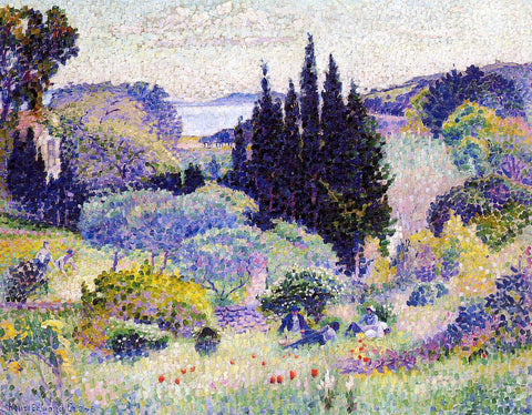 Henri Edmond Cross Cypress, April - Hand Painted Oil Painting