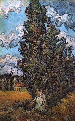 Vincent Van Gogh Cypresses and Two Women - Hand Painted Oil Painting