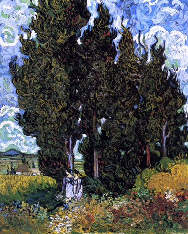 Vincent Van Gogh Cypresses with Two Women - Hand Painted Oil Painting