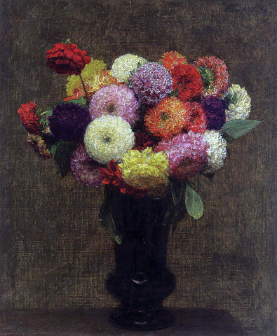 Henri Fantin-Latour Dahlias - Hand Painted Oil Painting