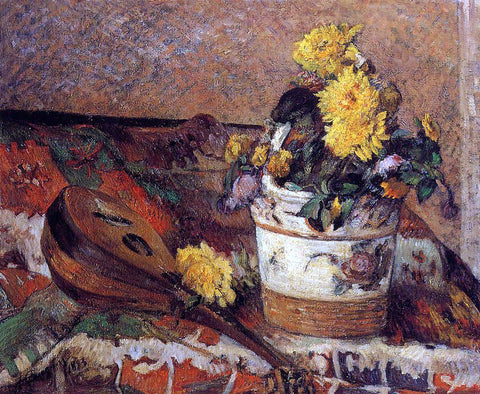 Paul Gauguin Dahlias and Mandolin - Hand Painted Oil Painting