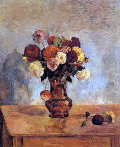 Paul Gauguin Dahlias in a Copper Vase - Hand Painted Oil Painting