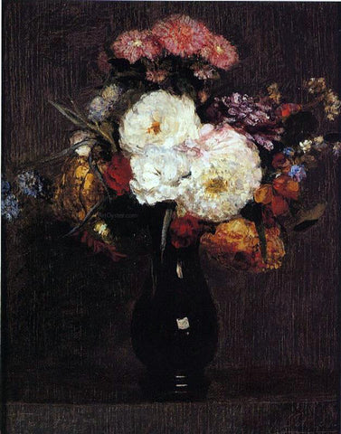Henri Fantin-Latour Dahlias, Queens Daisies, Roses and Corn Flowers - Hand Painted Oil Painting