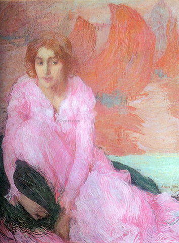 Edmond Francois Aman-Jean A Dame en Rose - Hand Painted Oil Painting