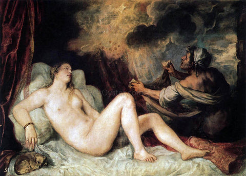 Titian Danae with a Nurse - Hand Painted Oil Painting