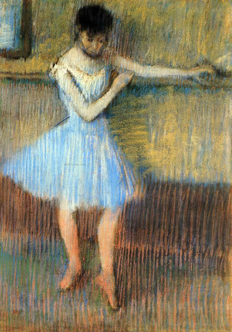 Edgar Degas Dancer in Blue at the Barre - Hand Painted Oil Painting