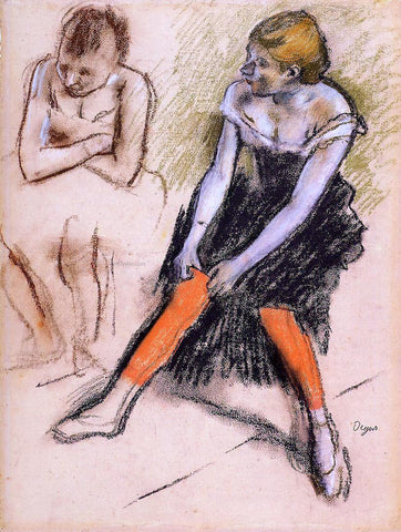 Edgar Degas Dancer with Red Stockings - Hand Painted Oil Painting