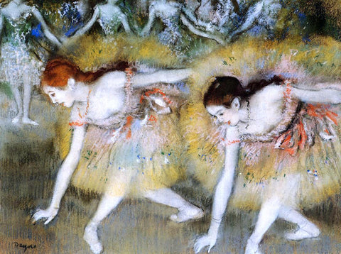 Edgar Degas Dancers Bending Down (also known as The Ballerinas) - Hand Painted Oil Painting