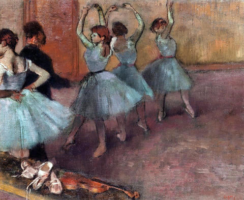 Edgar Degas Dancers in Light Blue (also known as Rehearsing in the Dance Studio) - Hand Painted Oil Painting