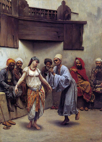 Jacques Baugnies Dancing in a Cafe in Cairo - Hand Painted Oil Painting