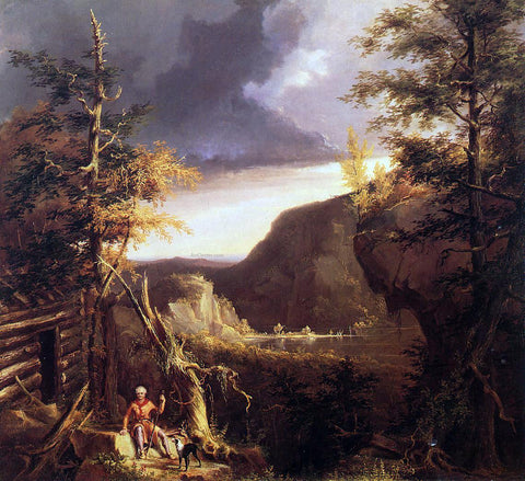 Thomas Cole Daniel Boone Sitting at the Door of His Cabin on the Great Osage Lake, Kentucky - Hand Painted Oil Painting