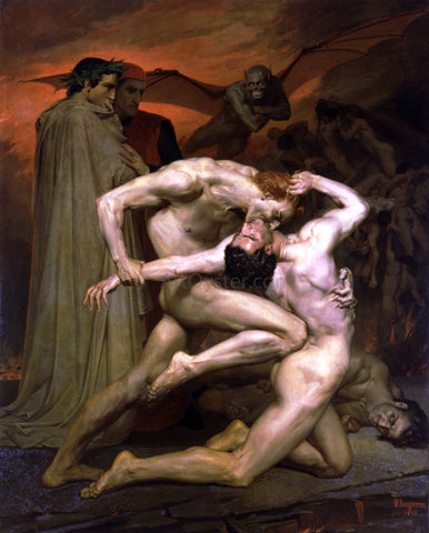 William Adolphe Bouguereau Dante and Virgil in Hell - Hand Painted Oil Painting