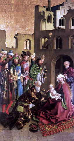 Unknown (2) Masters Darmstadt Altarpiece: The Epiphany - Hand Painted Oil Painting