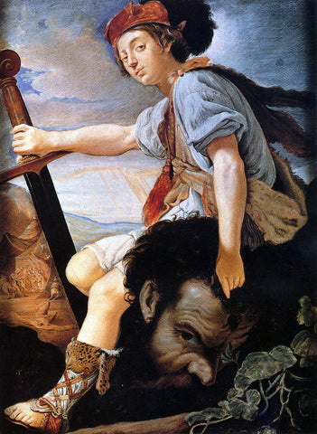 Thomas Flatman David with the Head of Goliath - Hand Painted Oil Painting