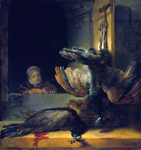 Rembrandt Van Rijn Dead peacocks - Hand Painted Oil Painting