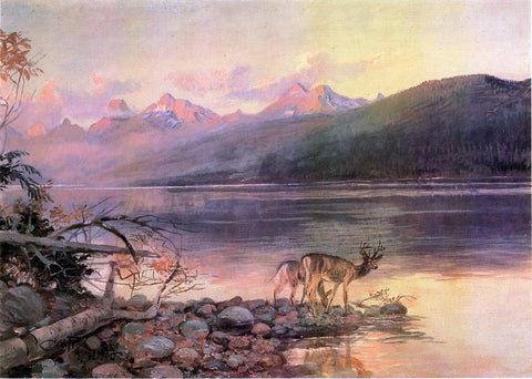 Charles Marion Russell Deer at Lake McDonald - Hand Painted Oil Painting