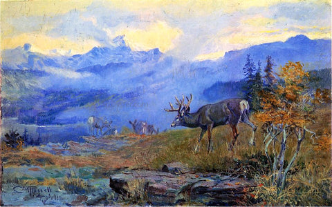 Charles Marion Russell Deer Grazing - Hand Painted Oil Painting