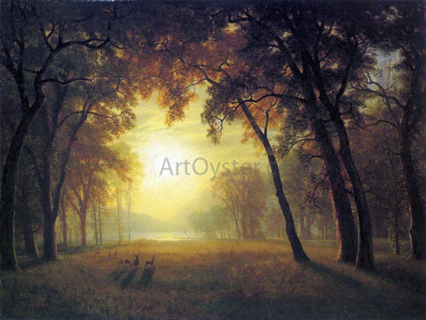 Albert Bierstadt Deer in a Clearing - Hand Painted Oil Painting