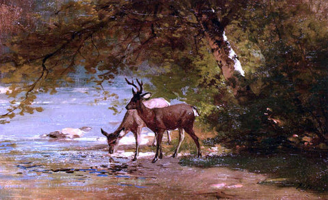 Thomas Hill Deer in a Landscape - Hand Painted Oil Painting