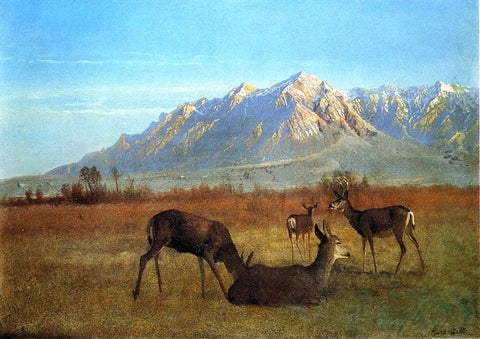 Albert Bierstadt Deer in a Mountain Home - Hand Painted Oil Painting