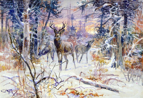 Charles Marion Russell A Deer in a Snowy Forest - Hand Painted Oil Painting