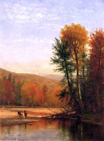 Thomas Worthington Whittredge Deer in an Autumn Landscape - Hand Painted Oil Painting