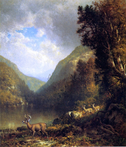 William M Hart Deer in the Adirondacks - Hand Painted Oil Painting