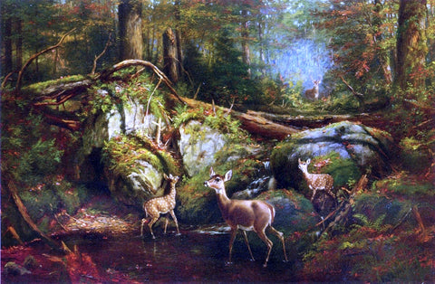 Arthur Fitzwilliam Tait Deer in the Adirondacks - Hand Painted Oil Painting