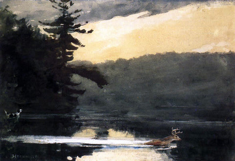Winslow Homer Deer in the Adirondacks - Hand Painted Oil Painting