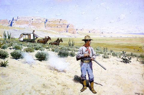 Henry F Farney Defending the Stagecoach - Hand Painted Oil Painting