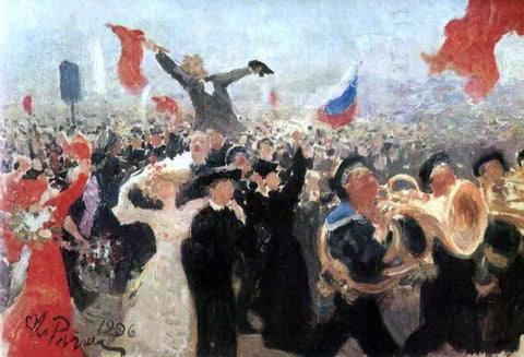 Ilia Efimovich Repin Demonstration on October 17, 1905 - Hand Painted Oil Painting