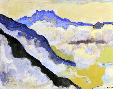 Ferdinand Hodler Dents du Midi in Clouds - Hand Painted Oil Painting