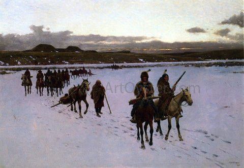 Henry F Farney Departure for the Buffalo Hunt - Hand Painted Oil Painting