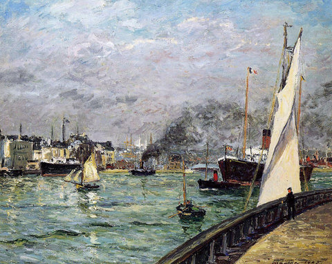 Maxime Maufra Departure of a Cargo Ship, Le Havre - Hand Painted Oil Painting