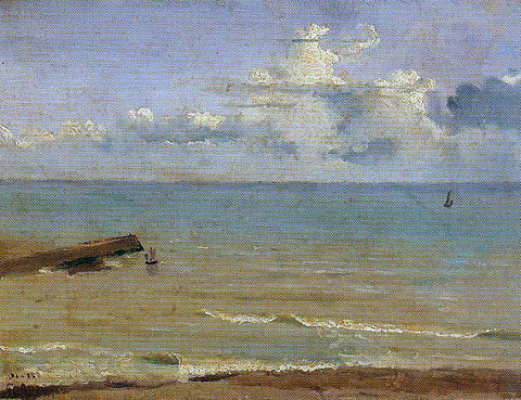 Jean-Baptiste-Camille Corot Dieppe - End of a Pier and the Sea - Hand Painted Oil Painting