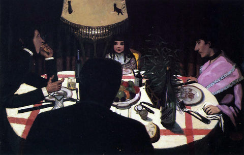 Felix Vallotton Dinner by Lamplight - Hand Painted Oil Painting