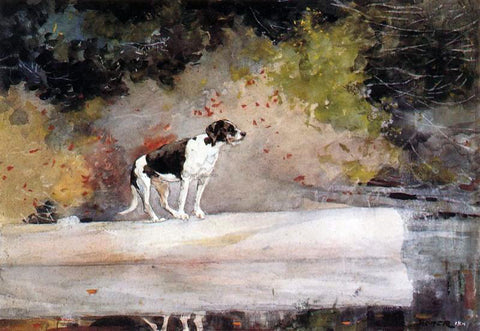 Winslow Homer Dog on a Log - Hand Painted Oil Painting
