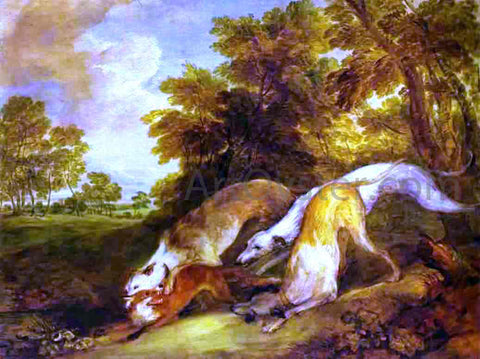 Thomas Gainsborough Dogs Chasing a Fox - Hand Painted Oil Painting