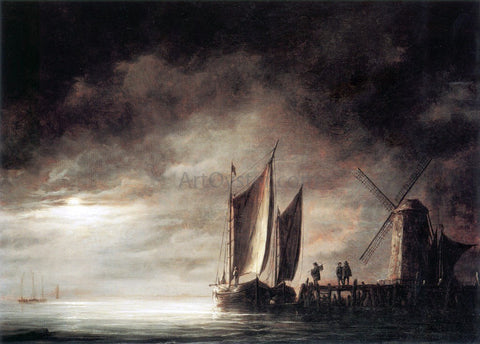 Aelbert Cuyp Dordrecht Harbour by Moonlight - Hand Painted Oil Painting