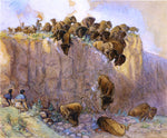 Charles Marion Russell Driving Buffalo Over the Cliff - Hand Painted Oil Painting