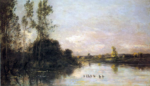 Charles Francois Daubigny Ducklings in a River Landscape - Hand Painted Oil Painting