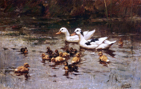Johannes Frederik Hulk Ducks Having A Swim - Hand Painted Oil Painting