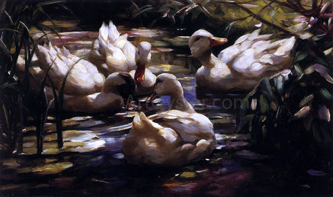 Alexander Koester Ducks in a Forest Pond - Hand Painted Oil Painting