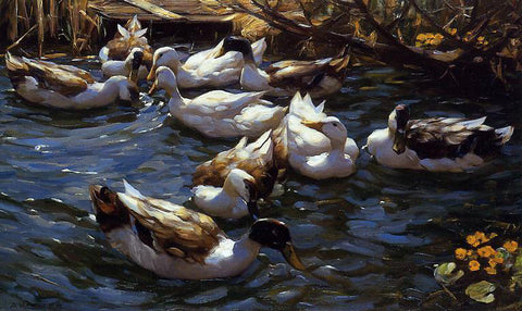 Alexander Koester Ducks in the Reeds under the Boughs - Hand Painted Oil Painting